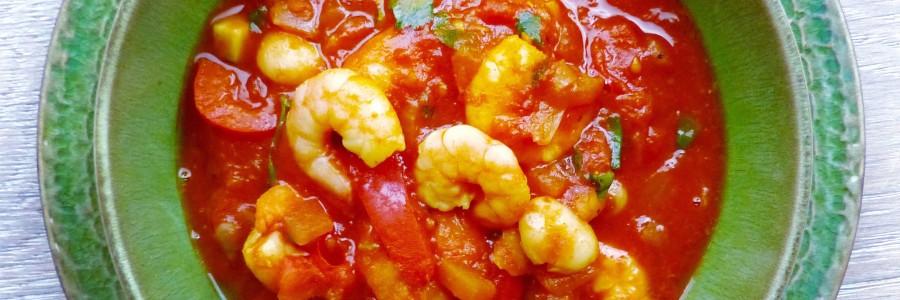 Spanish style white bean and prawn stew