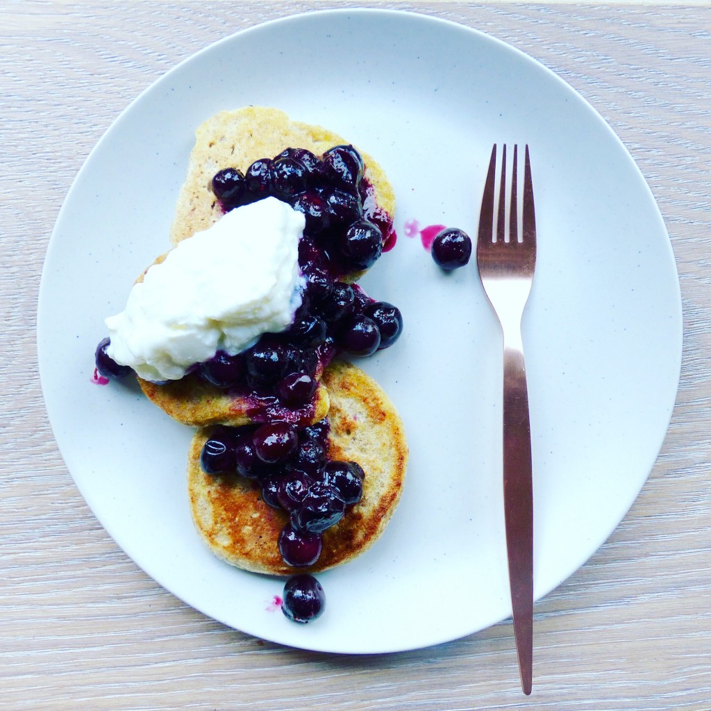 Rye pancakes with blueberry and ginger compote