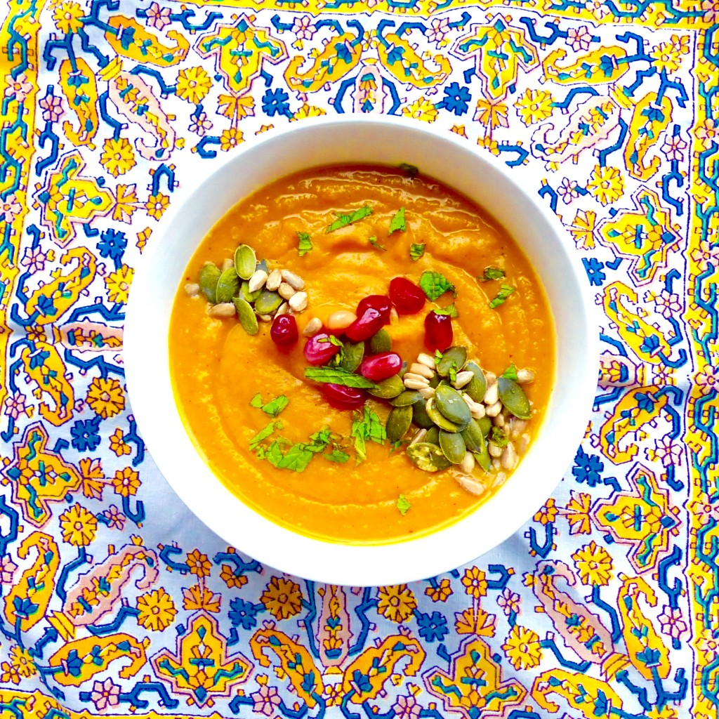 Moroccan butternut squash and red lentil soup