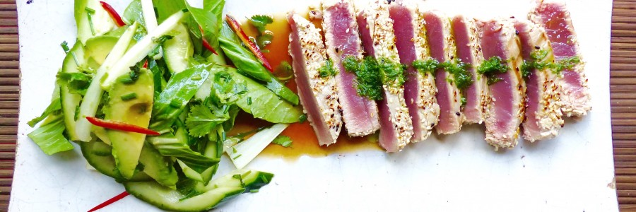 Sesame crusted tuna with Asian salad and soy/mirin dressing