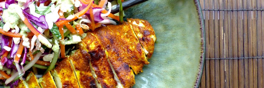 Turmeric chicken with Asian coconut slaw